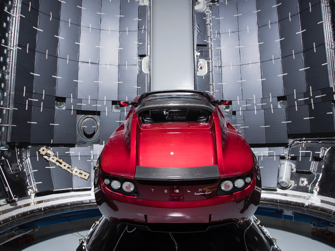 elon musk reveals photos of tesla roadster launching on falcon heavy rocket coffee times news. Black Bedroom Furniture Sets. Home Design Ideas