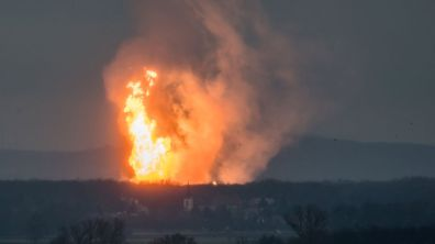 A column of fire is seen after an explosion ripped through Austria's main gas pipeline hub in Baumgarten, Austria December 12, 2017 in this picture obtained from social media. TOMAS HULIK/via REUTERS ATTENTION EDITORS - THIS IMAGE WAS PROVIDED BY A THIRD PARTY. MANDATORY CREDIT. NO RESALES. NO ARCHIVES